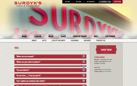 Screenshot of FAQ Page surdyks.com - Surdyk's Liquor & Cheese Shop | FAQs - captured Oct. 20, 2018