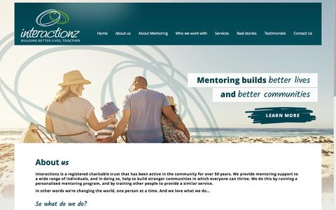 Screenshot of About Page interactionz.org.nz - Interactionz -mentoring support to build stronger communities - captured Aug. 6, 2016