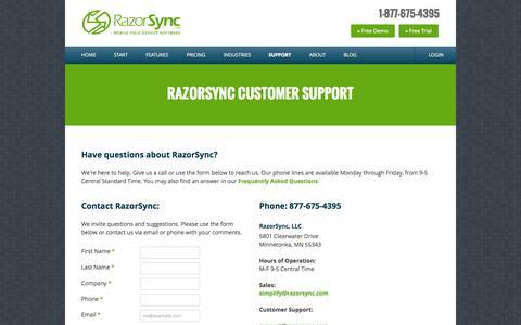 Screenshot of Support Page razorsync.com - RazorSync Customer Support | 877.675.4395 M-F 9-5 Central Time | FAQ - captured Oct. 29, 2014