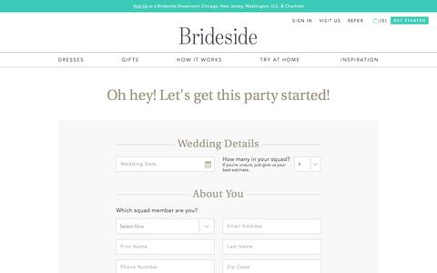 Screenshot of Signup Page brideside.com - Sign Up for Bridesmaid Dresses | Brideside - captured May 9, 2017
