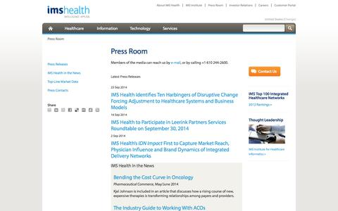Screenshot of Press Page imshealth.com - Press Room - captured Oct. 10, 2014