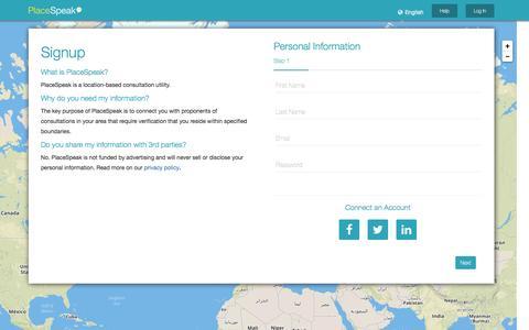 Screenshot of Signup Page placespeak.com - PlaceSpeak - Sign Up - captured May 29, 2016