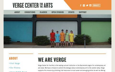 Screenshot of About Page vergeart.com - Verge Center for the Arts - captured Nov. 29, 2016