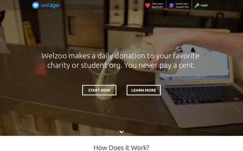 Screenshot of Home Page welzoo.com - Welzoo | Free Funding for Charities & Student Orgs - captured July 3, 2015