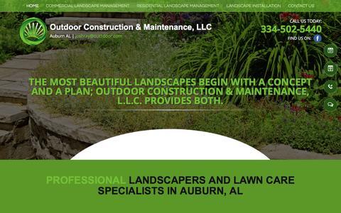 Screenshot of Home Page out1door.com - Landscapers Lawn Care - Auburn, AL - Outdoor Construction & Maintenance - captured Nov. 30, 2016