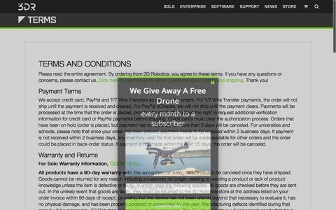 Screenshot of Terms Page 3drobotics.com - Terms | 3DR | Drone & UAV Technology - captured Nov. 5, 2015