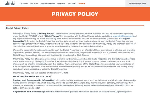 Screenshot of Privacy Page blinkfitness.com - Privacy policy - captured Aug. 2, 2018