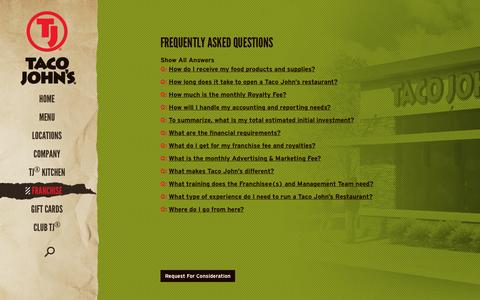 Screenshot of FAQ Page tacojohns.com - Taco John's International – Frequently Asked Questions on Franchising - captured Sept. 19, 2014