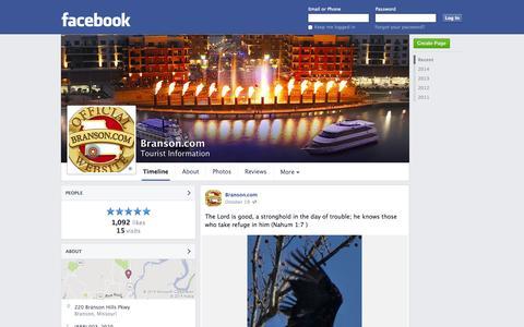 Screenshot of Facebook Page facebook.com - Branson.com - Branson, MO - Tourist Information | Facebook - captured Oct. 23, 2014