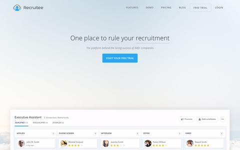 Screenshot of Home Page recruitee.com - Mike says... - captured Dec. 30, 2015