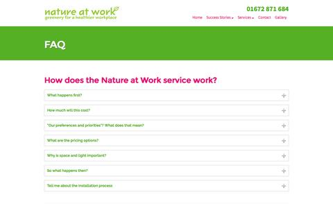 Screenshot of FAQ Page nature-at-work.co.uk - FAQ - Nature at Work - captured Dec. 1, 2016