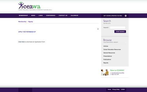 Screenshot of Signup Page ceawa.org.au - CEAWA > Membership > SignUp - captured Jan. 25, 2016