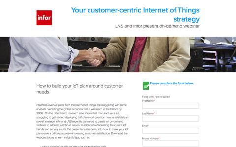 Screenshot of Landing Page infor.com - LNS and Infor present on-demand webinar - captured Aug. 19, 2016