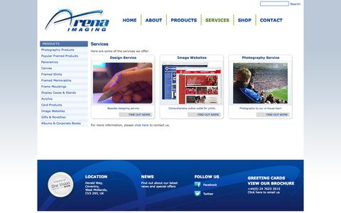 Screenshot of Services Page arenaimaging.com - Arena Imaging - Services - captured Sept. 30, 2014