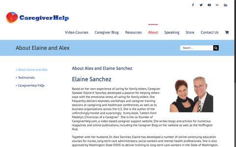 Screenshot of About Page caregiverhelp.com - About Elaine K Sanchez and Alex Sanchez - Caregiver Help - captured Nov. 4, 2018