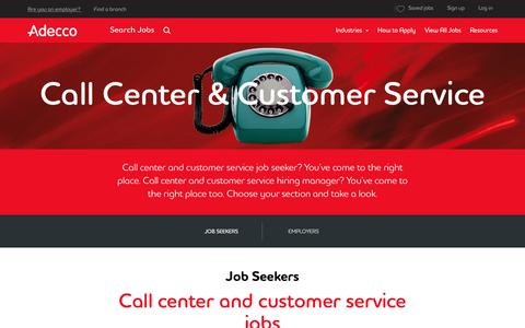Screenshot of Support Page adeccousa.com - Call Center and Customer Service Jobs and Staffing | Adecco - captured Aug. 21, 2018