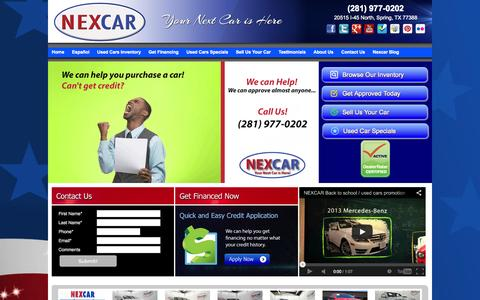 Screenshot of Home Page About Page Contact Page Site Map Page Testimonials Page nexcarauto.com - Used Cars for Sale, Trucks and SUVs, Dealership with the best price and budget for your economy | Nexcarauto.com - captured Sept. 23, 2014