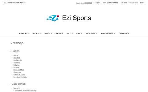 Screenshot of Site Map Page ezisports.com.au - Sitemap - captured July 24, 2018