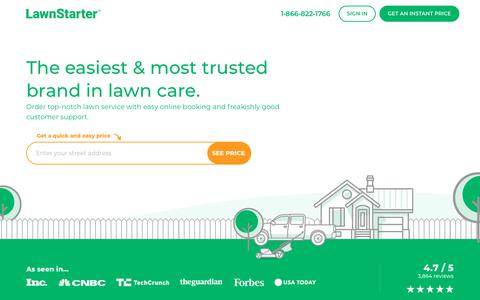 Screenshot of Home Page lawnstarter.com - Book Lawn Mowing Near You | Lawn Service from $19 | LawnStarter - captured May 7, 2019