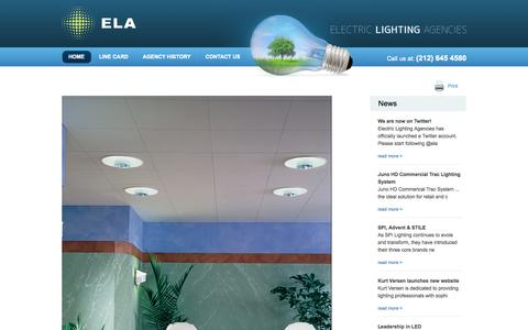 Screenshot of Home Page electriclighting.com - Electric Lighting Agencies - captured Oct. 1, 2014