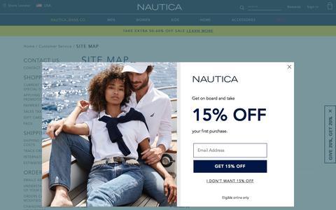 Screenshot of Site Map Page nautica.com - Site Map - captured Oct. 3, 2019