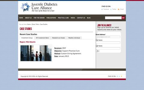 Screenshot of Case Studies Page thejdca.org - Case Studies «  The Juvenile Diabetes Cure Alliance - captured Oct. 6, 2014