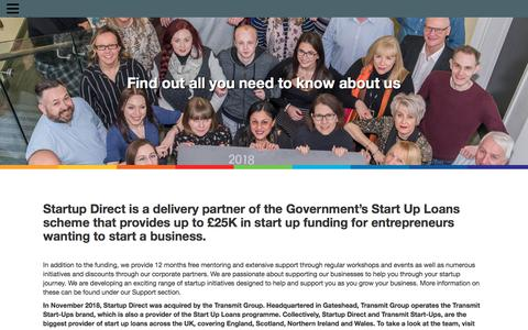 Screenshot of About Page startupdirect.org - About Start Up Loans from Startup Direct - captured Oct. 31, 2019