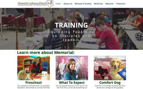 Screenshot of Home Page mlckaty.com - Memorial Lutheran Church - Katy, TX - captured Oct. 18, 2017