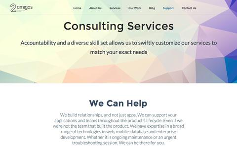Screenshot of Support Page 2amigos.us - Consulting Services - captured Aug. 28, 2016