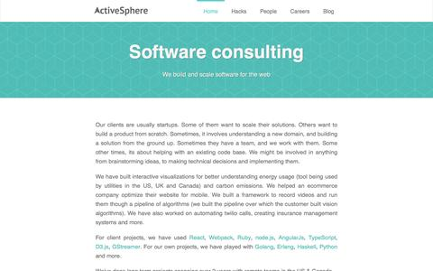 Screenshot of Home Page activesphere.com - ActiveSphere :: ActiveSphere - Bangalore based Ruby Rails JavaScript consulting - captured July 24, 2016