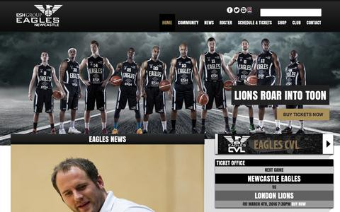 Screenshot of Home Page newcastle-eagles.com - Newcastle Eagles Basketball - captured March 4, 2016