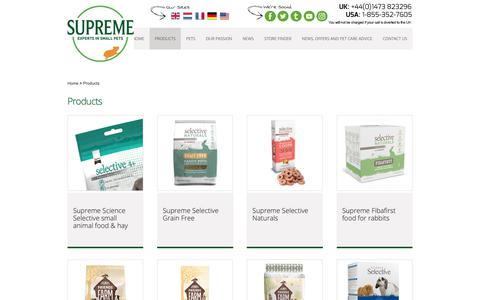 Screenshot of Products Page supremepetfoods.com - Products - Supreme Petfoods - captured Oct. 20, 2018