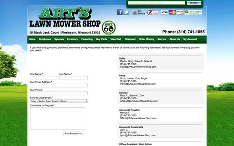 Screenshot of Contact Page artslawnmowershop.com - Arts Lawn Mower Shop Inc | Contact Us - captured Oct. 4, 2014