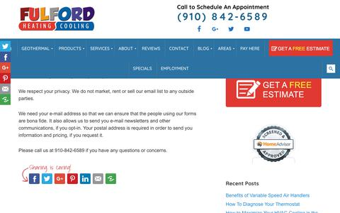 Screenshot of Privacy Page fulfordhvac.com - Privacy Policy - Fulford Heating and Cooling - captured Oct. 3, 2018