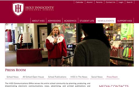 Screenshot of Press Page hies.org - Holy Innocents' Episcopal School ~ Press Room - Media Contacts, High Res Downloads - captured Nov. 2, 2014