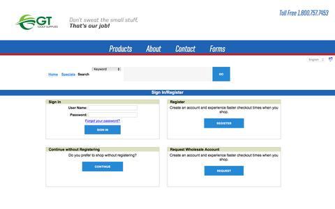 Screenshot of Login Page ggolf.com - Storefront Commerce Login - captured Nov. 9, 2016