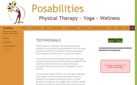 Screenshot of Testimonials Page posabilities4u.com - Testimonials | Posabilities - captured Sept. 28, 2018