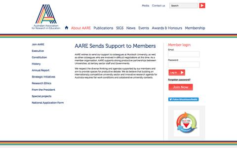 Screenshot of Support Page aare.edu.au - AARE Sends Support to Members · About AARE ·  Australian Association for Research in Education - captured April 23, 2017