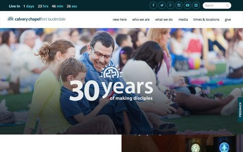 Screenshot of Home Page calvaryftl.org - - Calvary Chapel Fort Lauderdale - captured Oct. 1, 2015