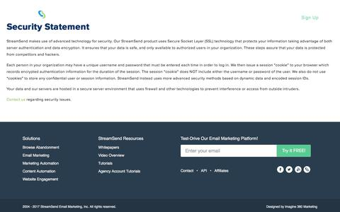 Security Statement - StreamSend