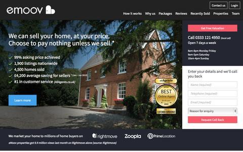 Screenshot of Home Page emoov.co.uk - Online Estate Agents - eMoov.co.uk - The UK's leading Online Estate Agent - captured Oct. 24, 2015