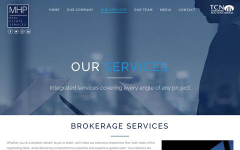 Screenshot of Services Page mhpnyc.com - OUR SERVICES - MHP Real Estate Services - captured Oct. 1, 2017