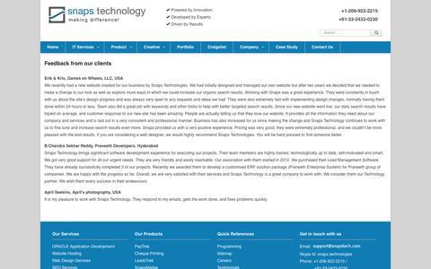 Screenshot of Testimonials Page snapstech.com - Software development company, IT service provider, e-Commerce Solutions - captured Oct. 7, 2014