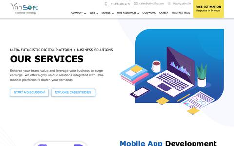 Screenshot of Services Page vrinsofts.com - SEO & Ecommerce Development Services | Web Design & Development - captured Nov. 20, 2018