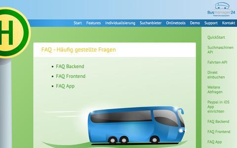 Screenshot of FAQ Page busmanager24.de - FAQ   Busmanager24 Reservierungssystem - captured June 4, 2016