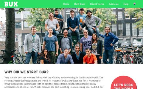 Screenshot of About Page getbux.com - About us - BUX - captured Nov. 2, 2014