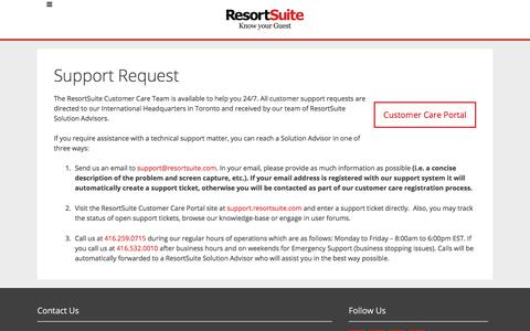 ResortSuite Support Request | ResortSuite