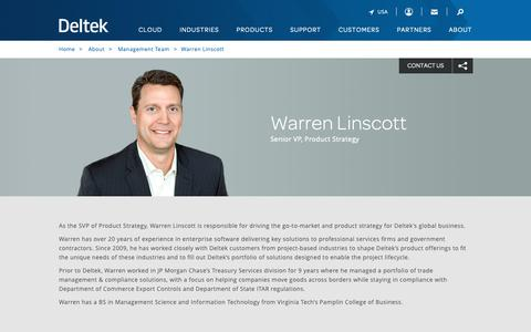 Screenshot of Team Page deltek.com - Warren Linscott | Management Team | Deltek - captured April 19, 2019