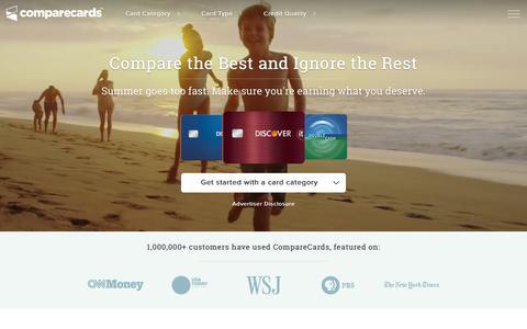 Screenshot of Home Page comparecards.com - Credit Cards | Compare The Best Credit Card Offers | CompareCards.com - captured Aug. 28, 2016