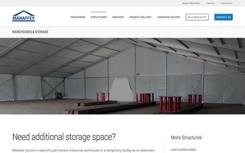 Screenshot of mahaffeyusa.com - Warehouses & Storage - captured March 20, 2016